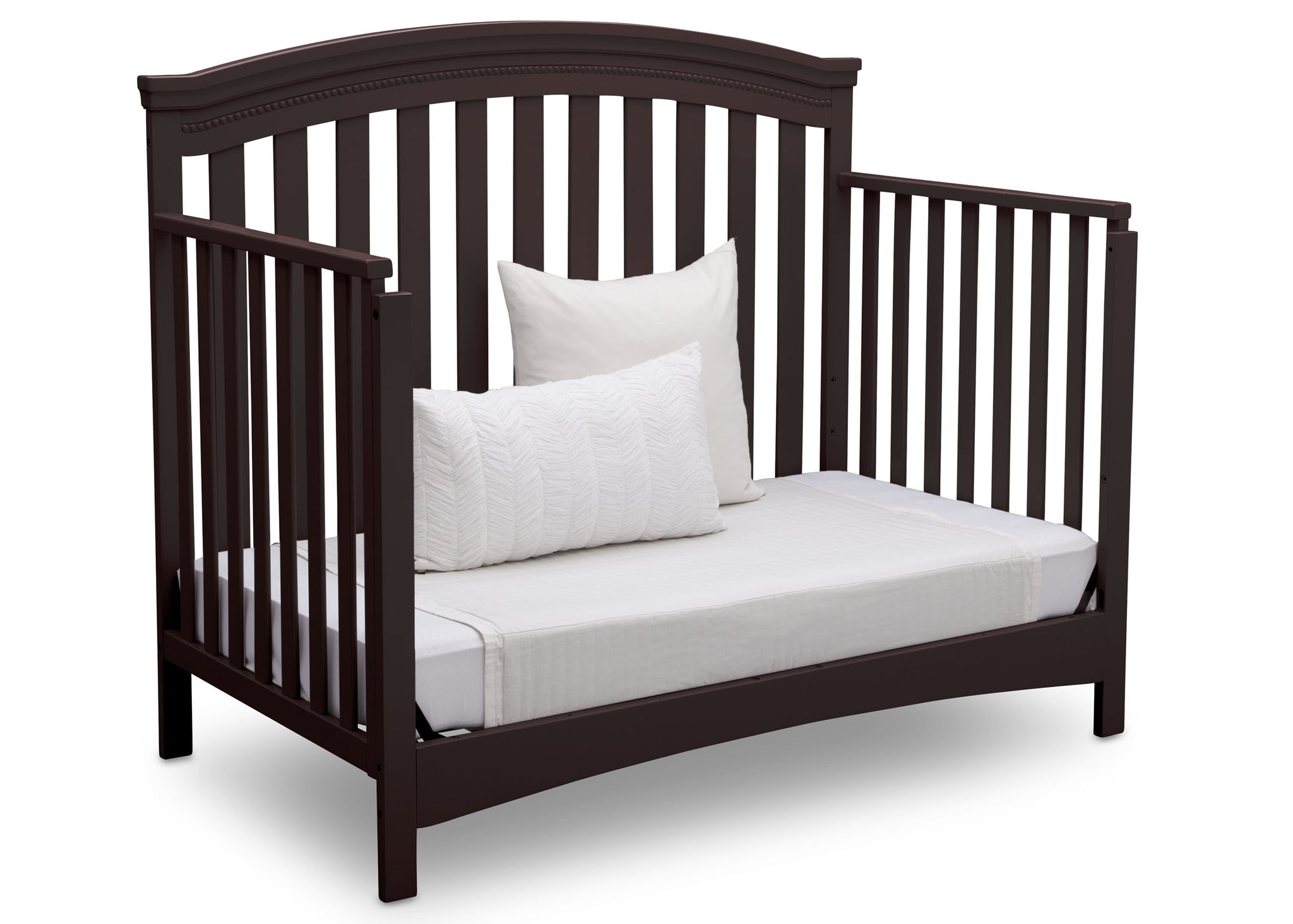 Delta Children Dark Chocolate (207) Emerson 4-in-1 Crib, angled conversion to daybed, c4c