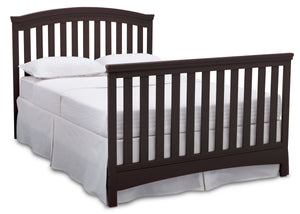 Delta Children Dark Chocolate (207) Emerson 4-in-1 Crib, angled conversion to full size bed, c6c