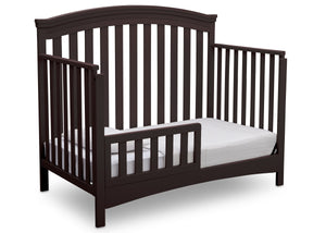 Delta Children Dark Chocolate (207) Emerson 4-in-1 Crib, angled conversion to toddler bed, c5c