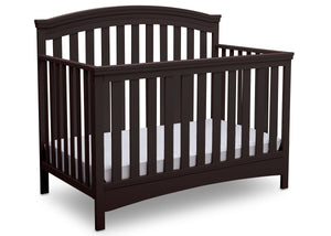 Delta Children Dark Chocolate (207) Emerson 4-in-1 Crib, angled view, c3c