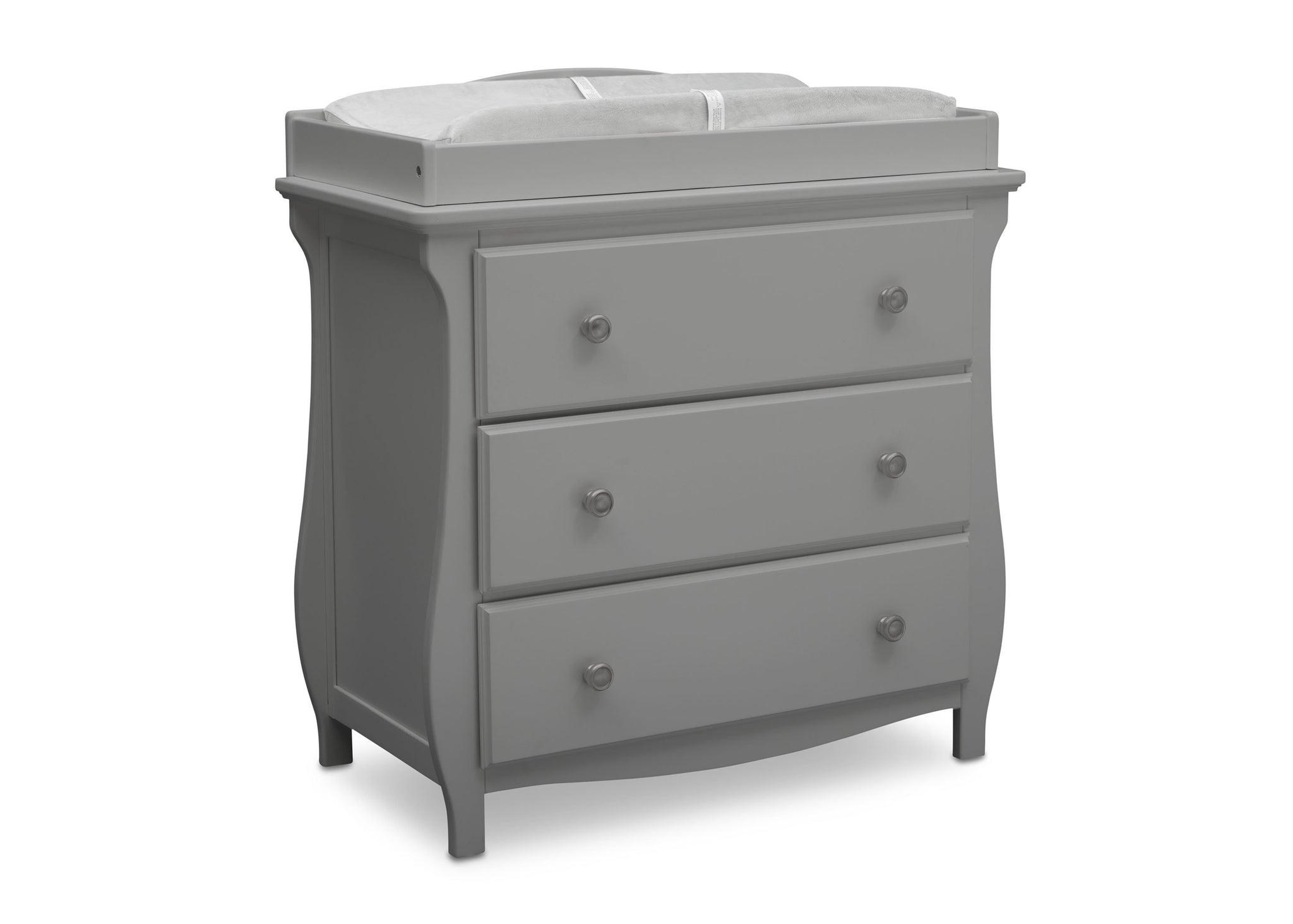 Delta Children Grey (026) Lancaster 3 Drawer Dresser with Changing Top (552030), Sideview, a3a