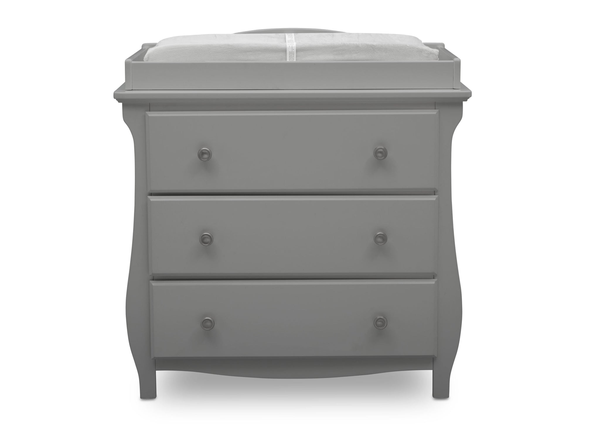 Delta Children Grey (026) Lancaster 3 Drawer Dresser with Changing Top (552030), Front View, a2a