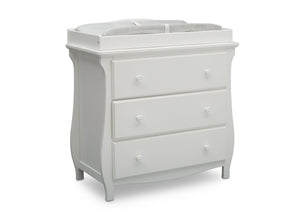 Delta Children Bianca White (130) Lancaster 3 Drawer Dresser with Changing Top (552030), Side View, b3b