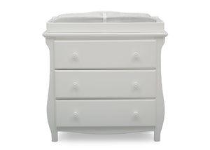 Delta Children Bianca White (130) Lancaster 3 Drawer Dresser with Changing Top (552030), Front View, b2b