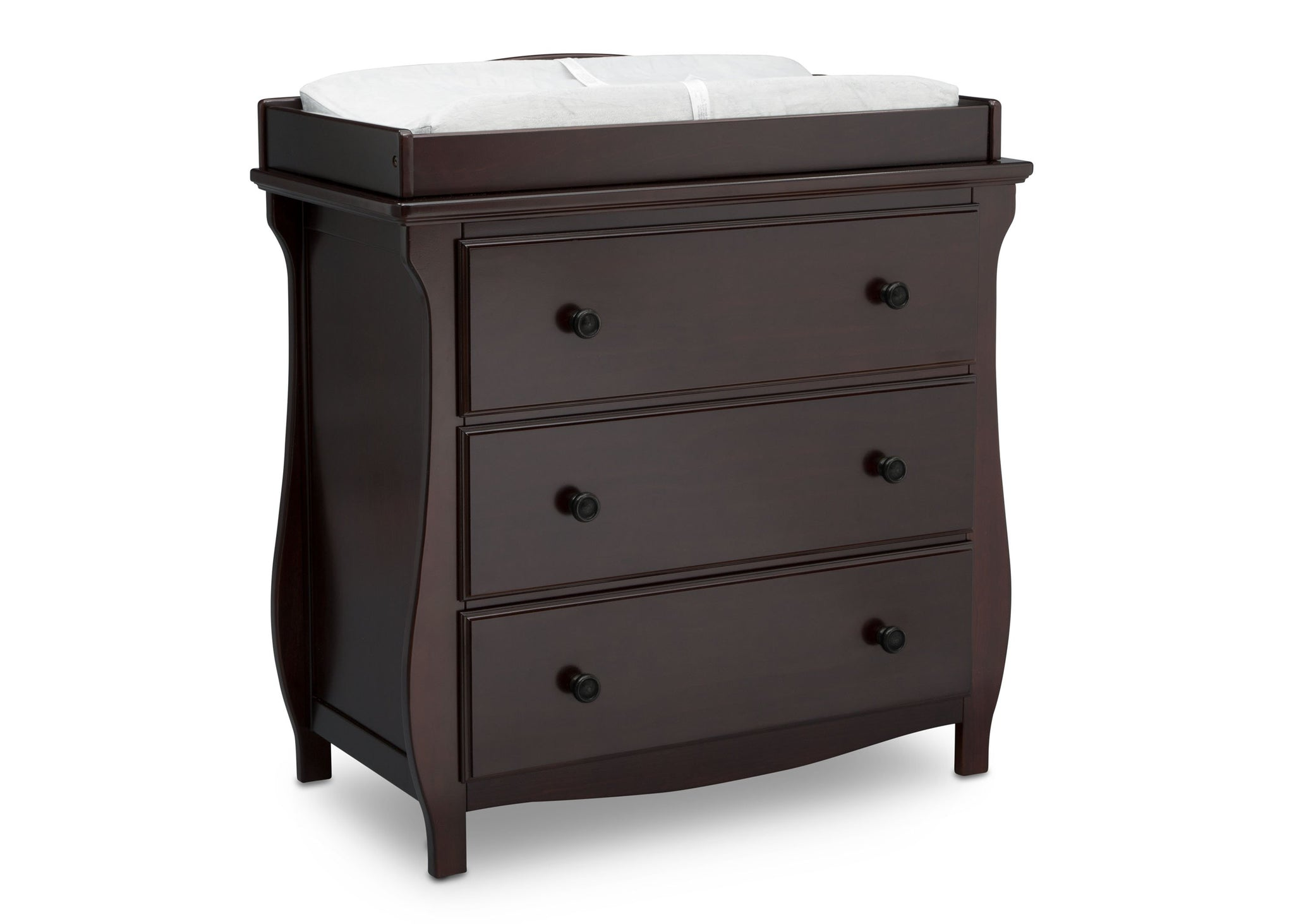 Delta Children Dark Chocolate (207) Lancaster 3 Drawer Dresser with Changing Top (552030), Side View, c3c