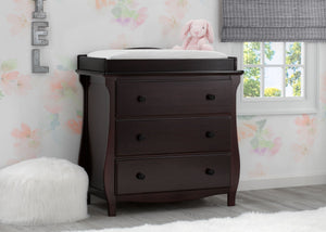 Delta Children Dark Chocolate (207) Lancaster 3 Drawer Dresser with Changing Top (552030), Hangtag, c1c