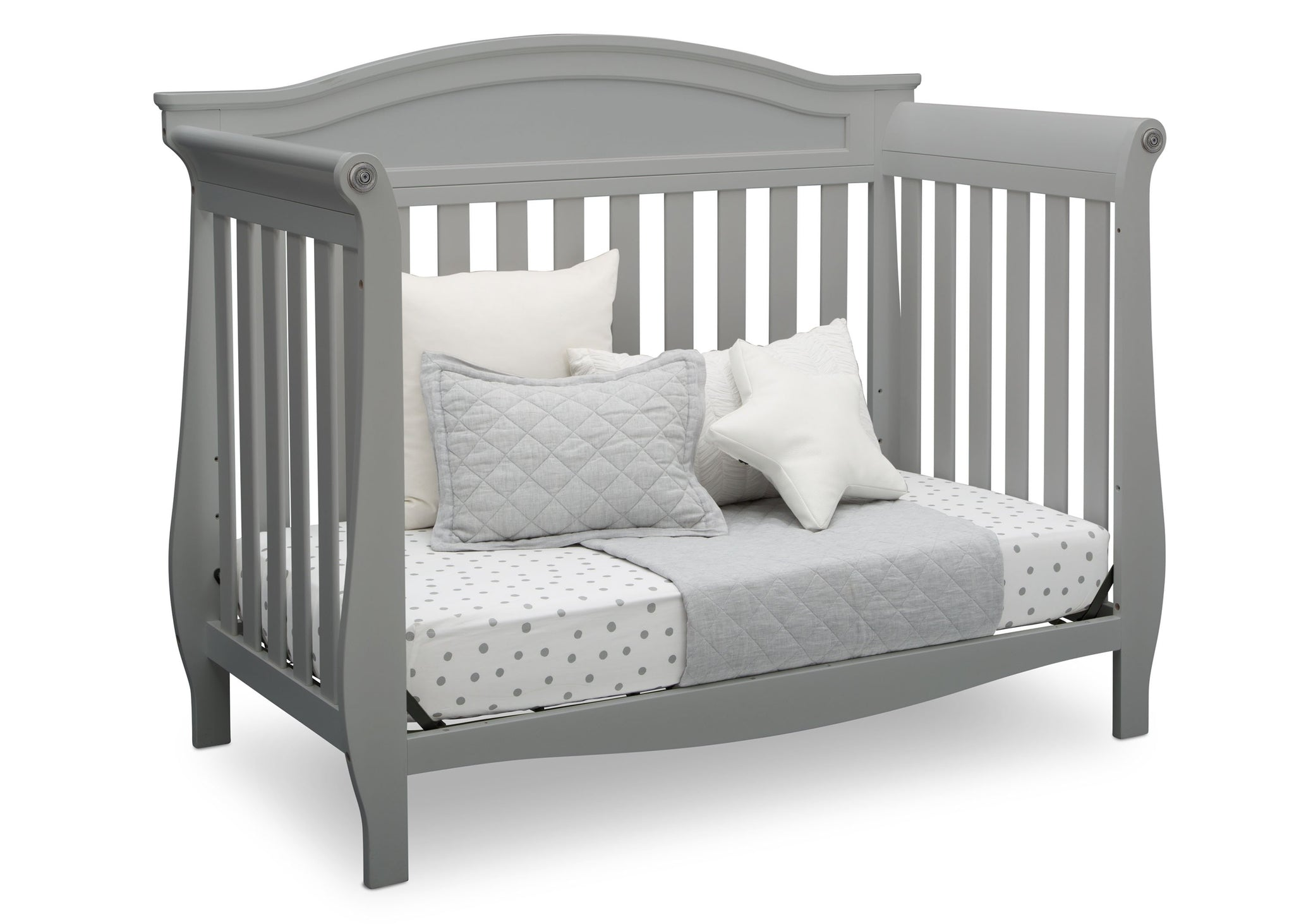 Delta Children Grey (026) Lancaster 4-in-1 Convertible Crib (552150), Daybed, a4a
