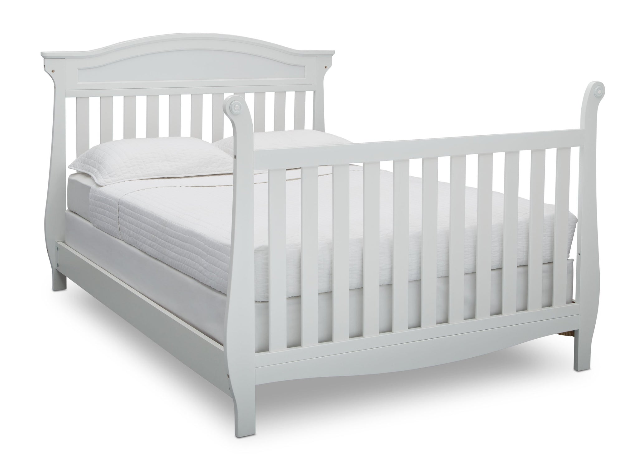 Delta Children Bianca White (130) Lancaster 4-in-1 Convertible Crib (552150), Full Bed with Footboard, b5b