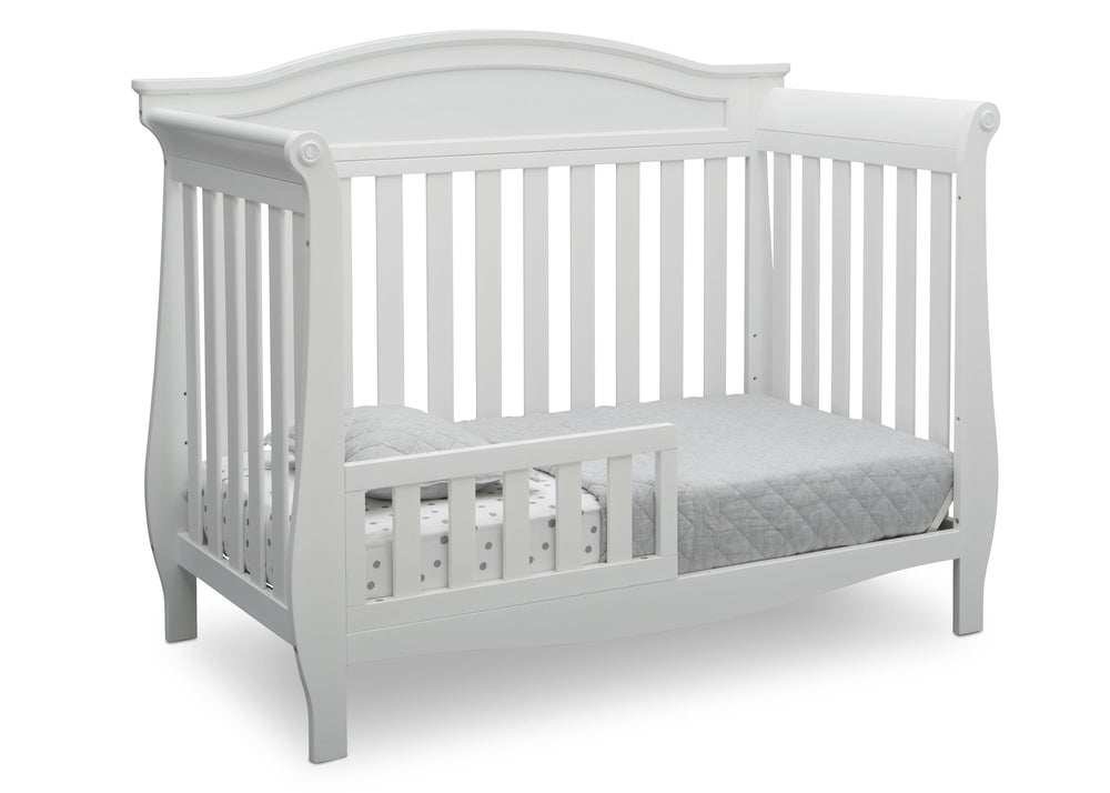 Delta Children Bianca White (130) Lancaster 4-in-1 Convertible Crib (552150), Toddler Bed, b3b