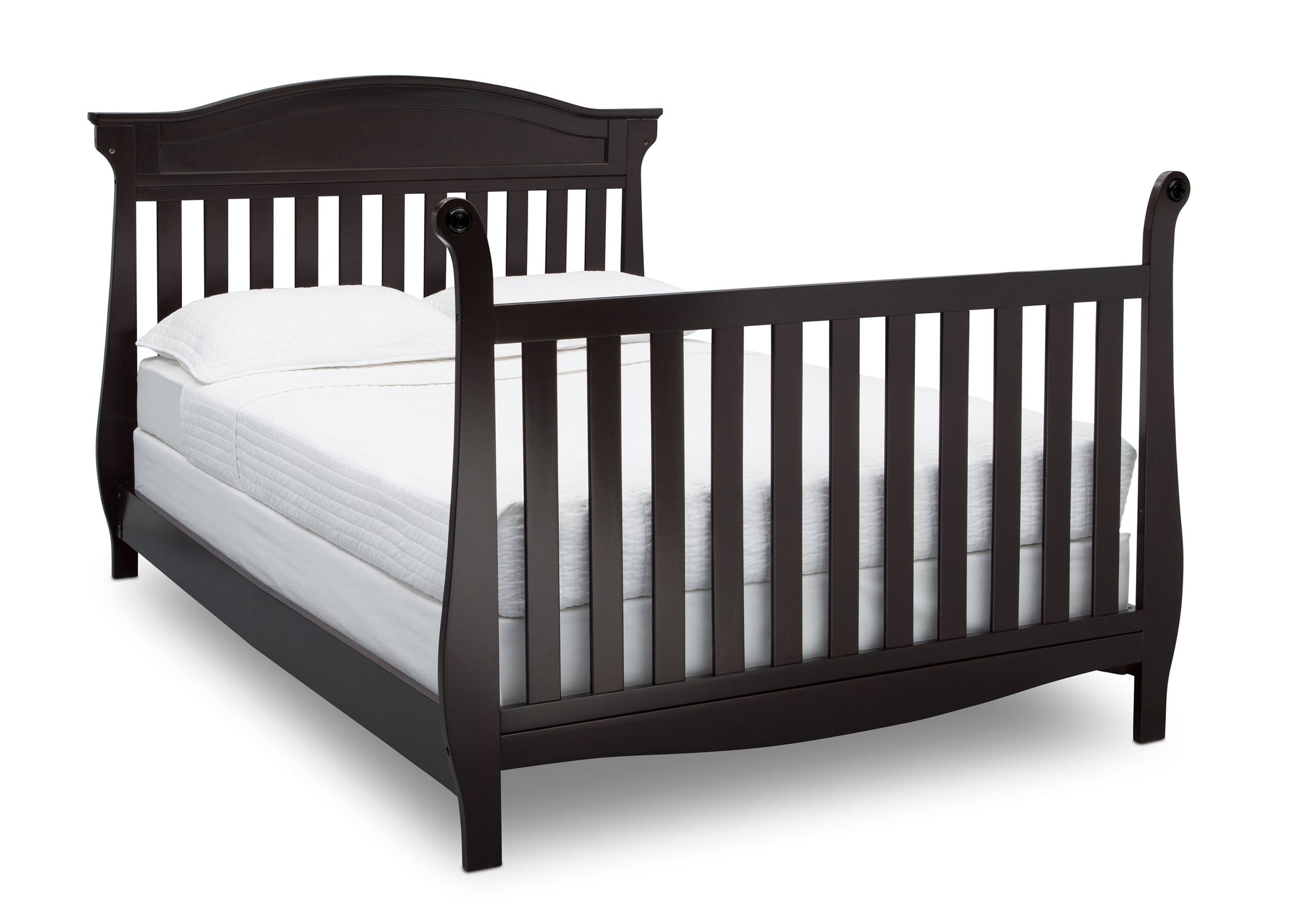Delta Children Dark Chocolate (207) Lancaster 4-in-1 Convertible Crib (552150), Full Bed with Footboarf, c5c