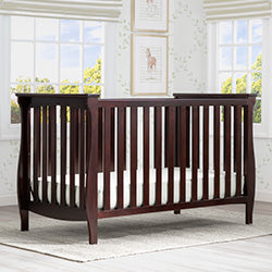 Lancaster 3-in-1 Convertible Crib (Dark Chocolate) - Bundle