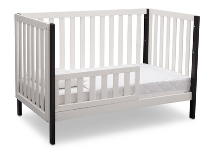 Delta Children Bianca with Black (117) Milo 3-in-1 Crib, Angled Conversion to Toddler Bed, c4c