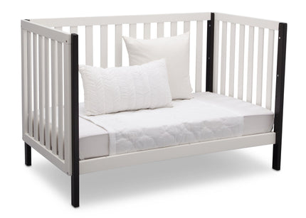 Delta Children Bianca with Black (117) Milo 3-in-1 Crib, Angled Conversion to DayBed, c5c
