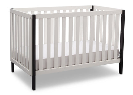 Delta Children Bianca with Black (117) Milo 3-in-1 Crib, Angled View, c3c