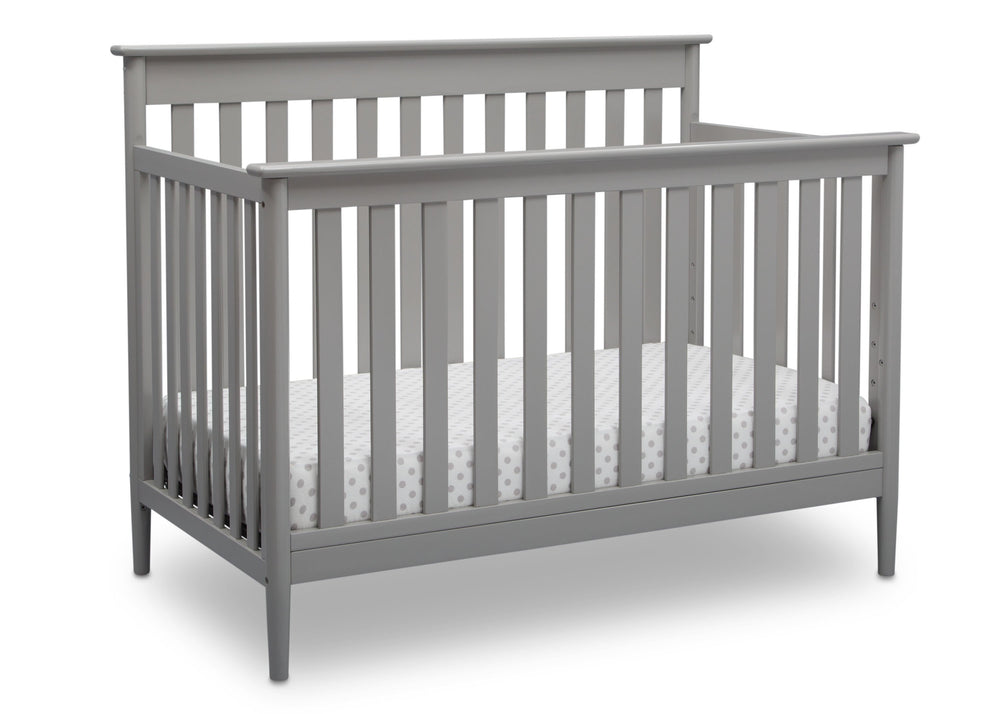 Delta Children Grey (026) Greyson Signature 4-in-1 Crib, angled view, a3a