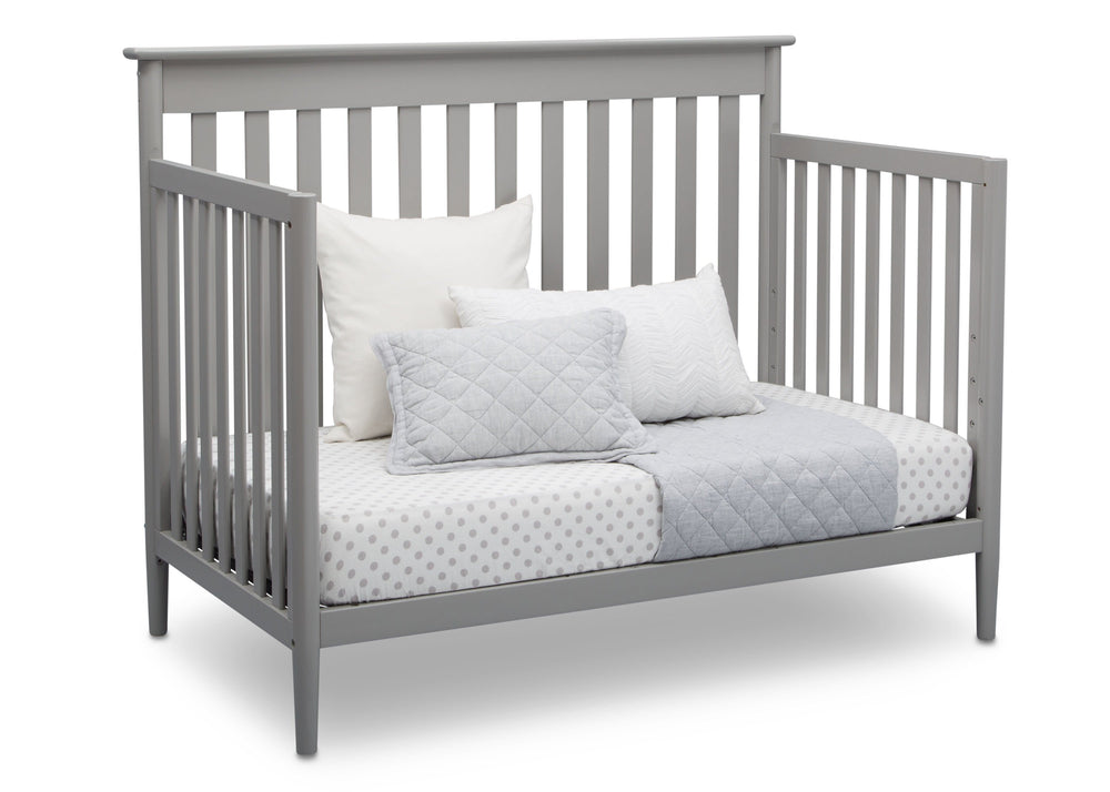 Delta Children Grey (026) Greyson Signature 4-in-1 Crib, angled conversion to daybed, a4a