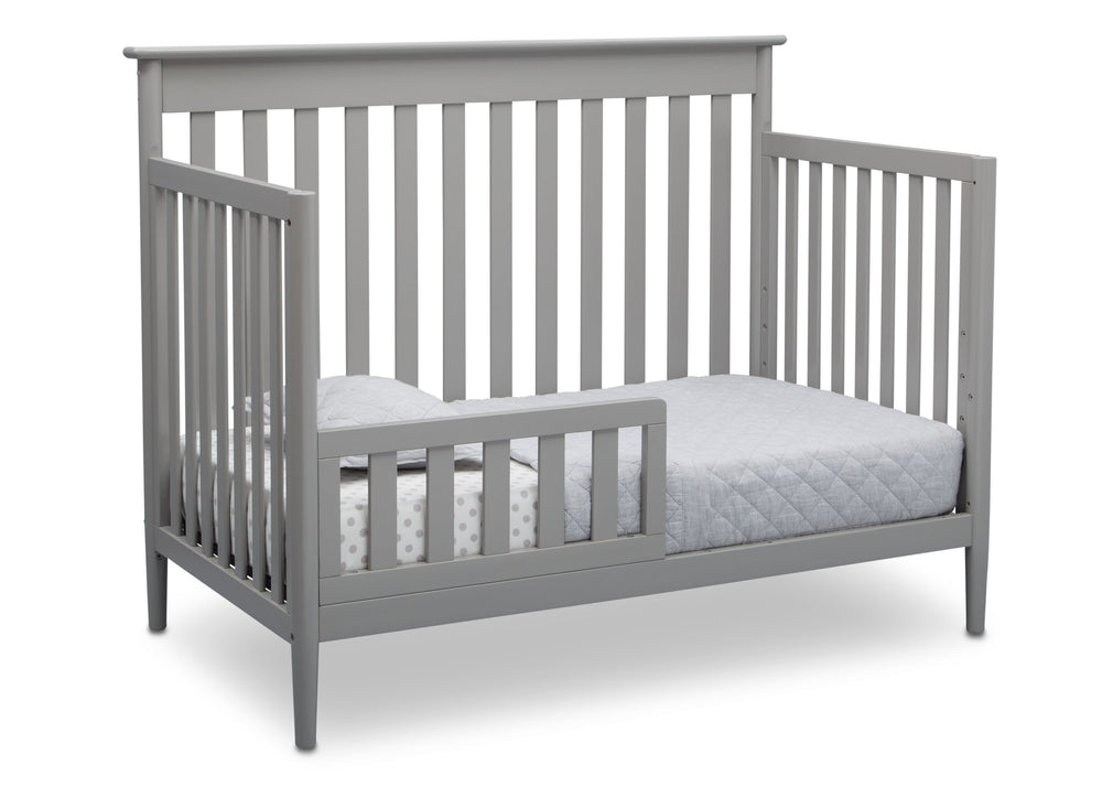 Delta Children Grey (026) Greyson Signature 4-in-1 Crib, angled conversion to toddler bed, a5a