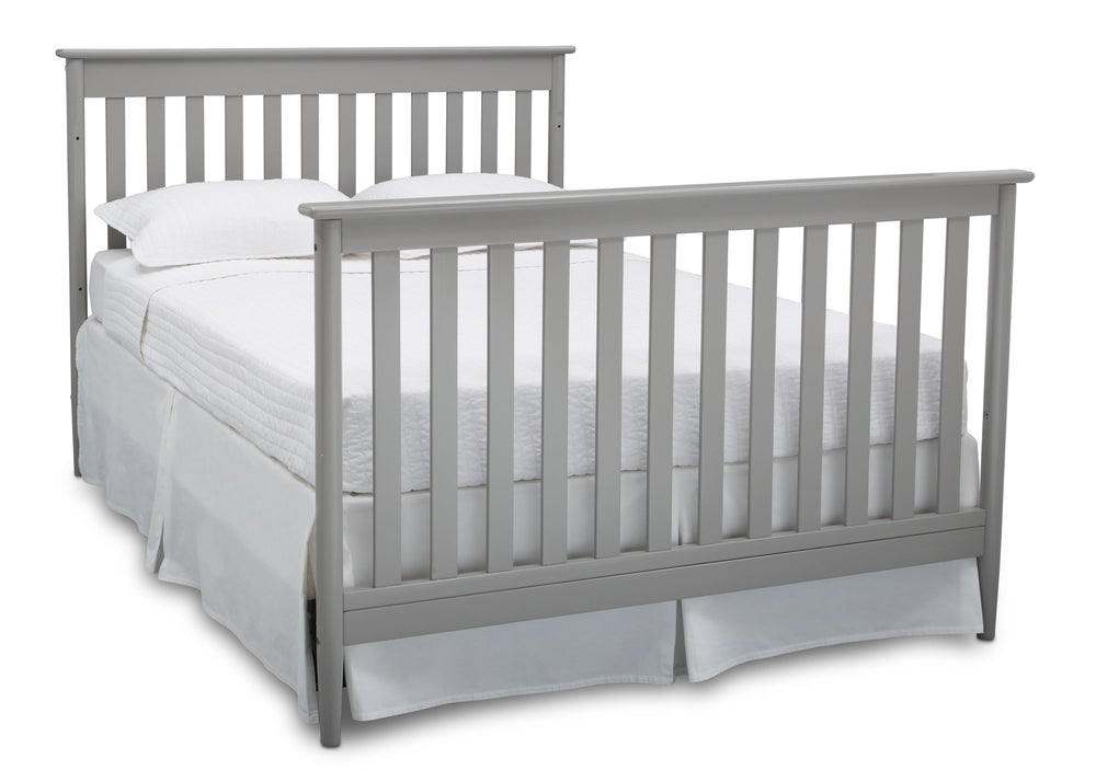 Delta Children Grey (026) Greyson Signature 4-in-1 Crib, angled conversion to full size bed, a6a