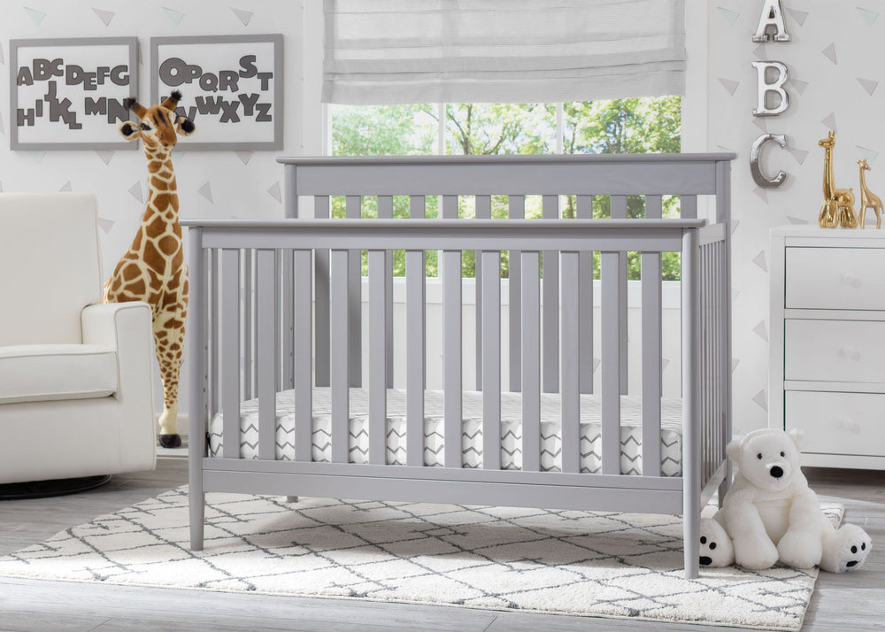 Delta Children Grey (026) Greyson Signature 4-in-1 Crib, Room View a1a