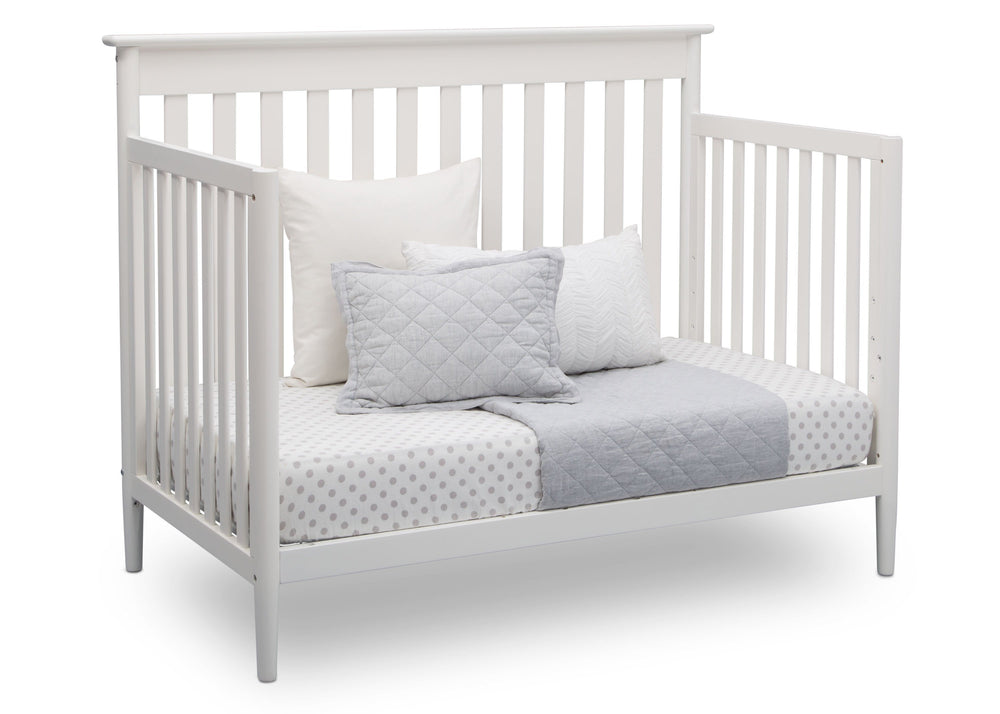 Delta Children Bianca (130) Greyson Signature 4-in-1 Crib, angled conversion to daybed, b4b