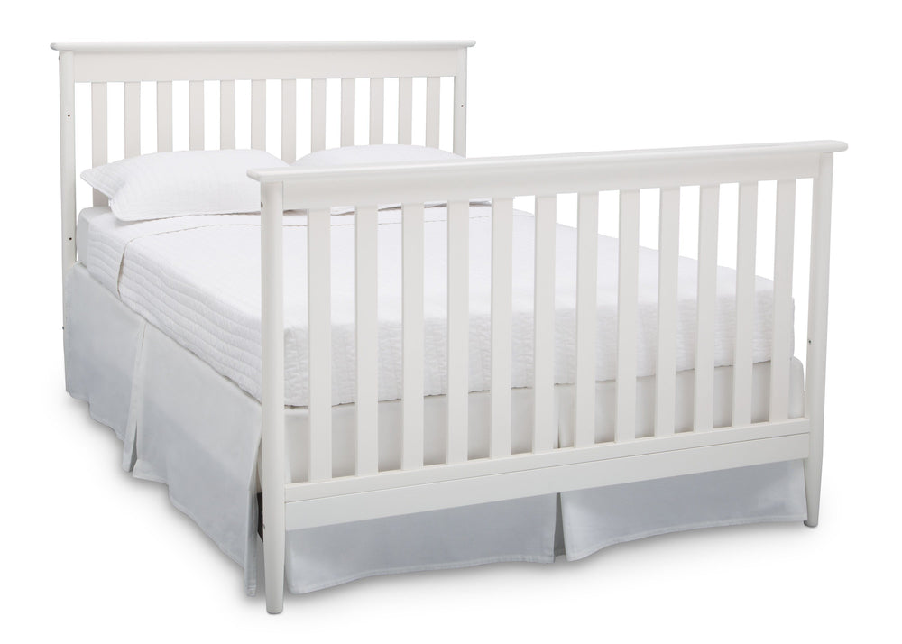 Delta Children Bianca (130) Greyson Signature 4-in-1 Crib, angled conversion to full size bed, b6b