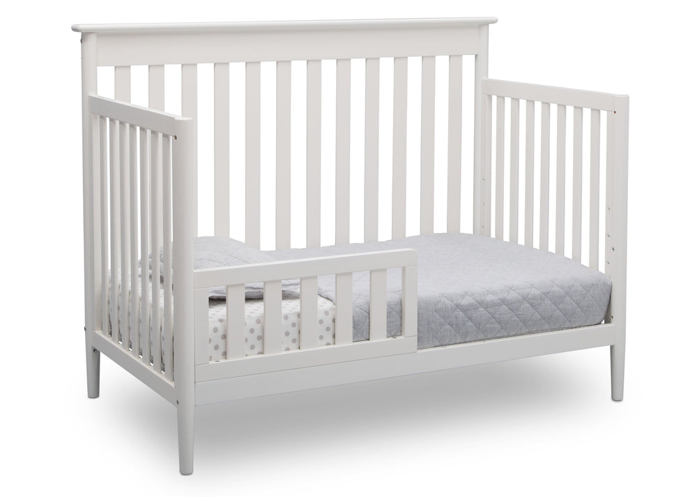 Delta Children Bianca (130) Greyson Signature 4-in-1 Crib, angled conversion to toddler bed, b5b