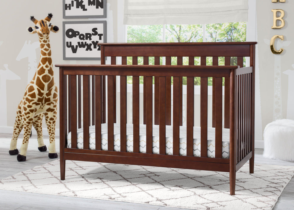 Delta Children Walnut (1316) Greyson Signature 4-in-1 Crib, angled view, d3d