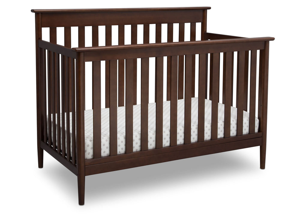 Delta Children Walnut (1316)) Greyson Signature 4-in-1 Crib, angled view, d3d
