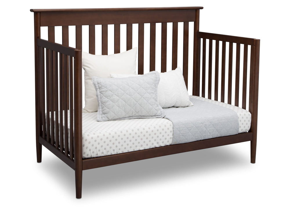 Delta Children Walnut (1316)) Greyson Signature 4-in-1 Crib, angled conversion to daybed, d4d