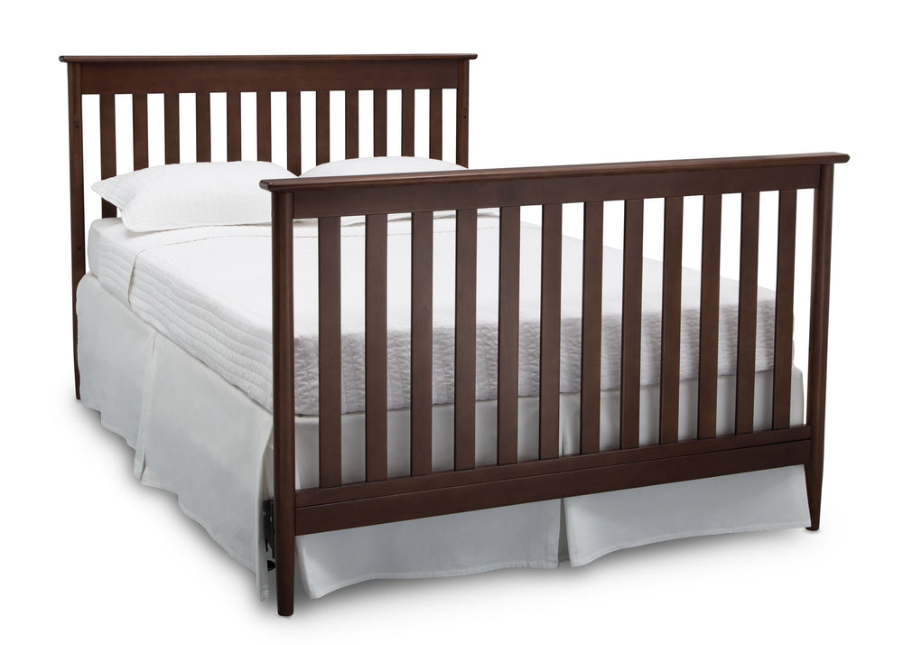Delta Children Walnut (1316)) Greyson Signature 4-in-1 Crib, angled conversion to full size bed, d6d