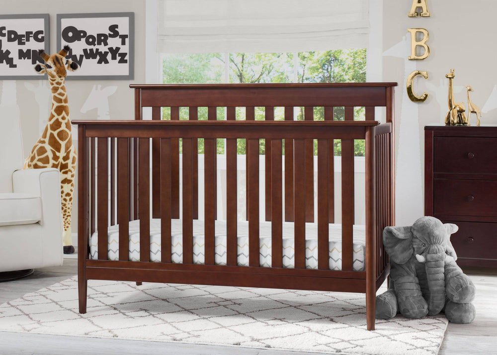 Delta Children Walnut (1316) Greyson Signature 4-in-1 Crib, Room View d1d