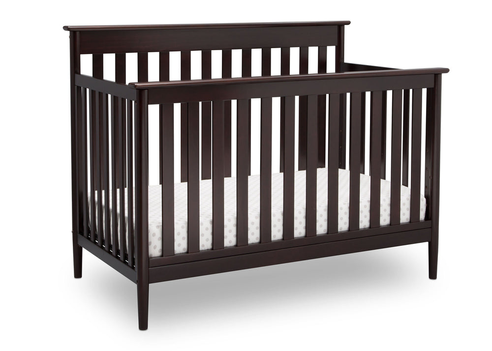Delta Children Dark Chocolate (207) Greyson Signature 4-in-1 Crib, angled view, c3c