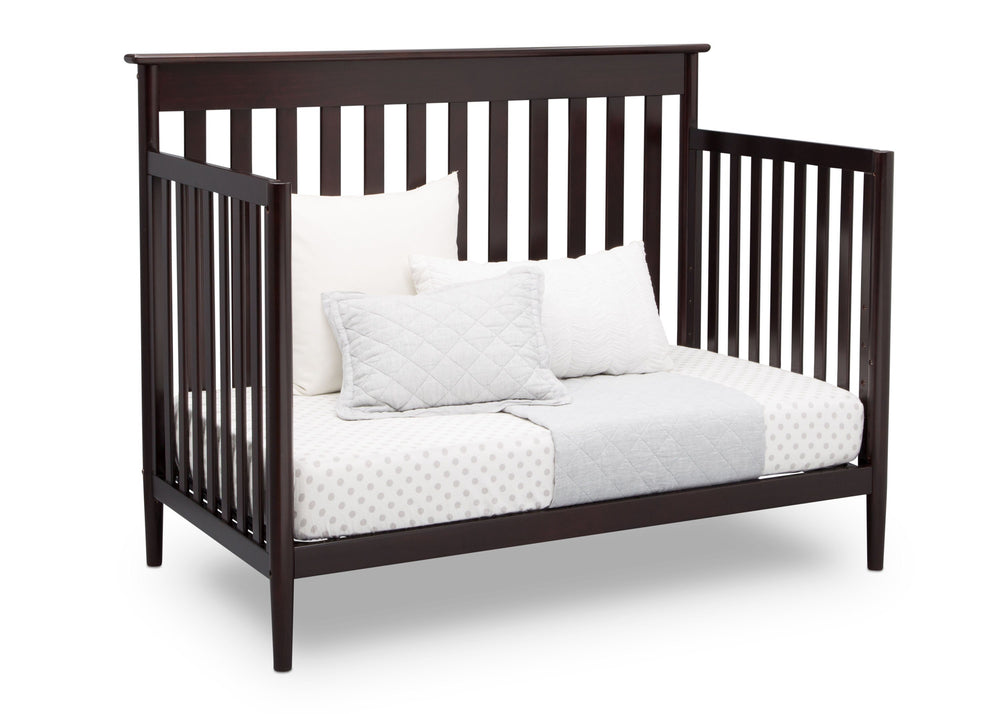 Delta Children Dark Chocolate (207) Greyson Signature 4-in-1 Crib, angled conversion to daybed, c4c