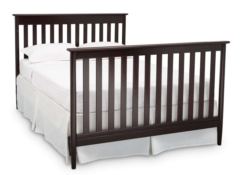 Delta Children Dark Chocolate (207) Greyson Signature 4-in-1 Crib, angled conversion to full size bed, c6c