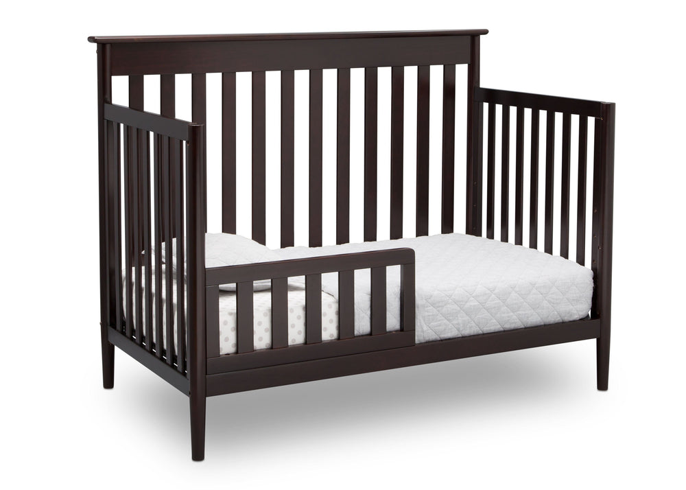 Delta Children Dark Chocolate (207) Greyson Signature 4-in-1 Crib, angled conversion to toddler bed, c5c