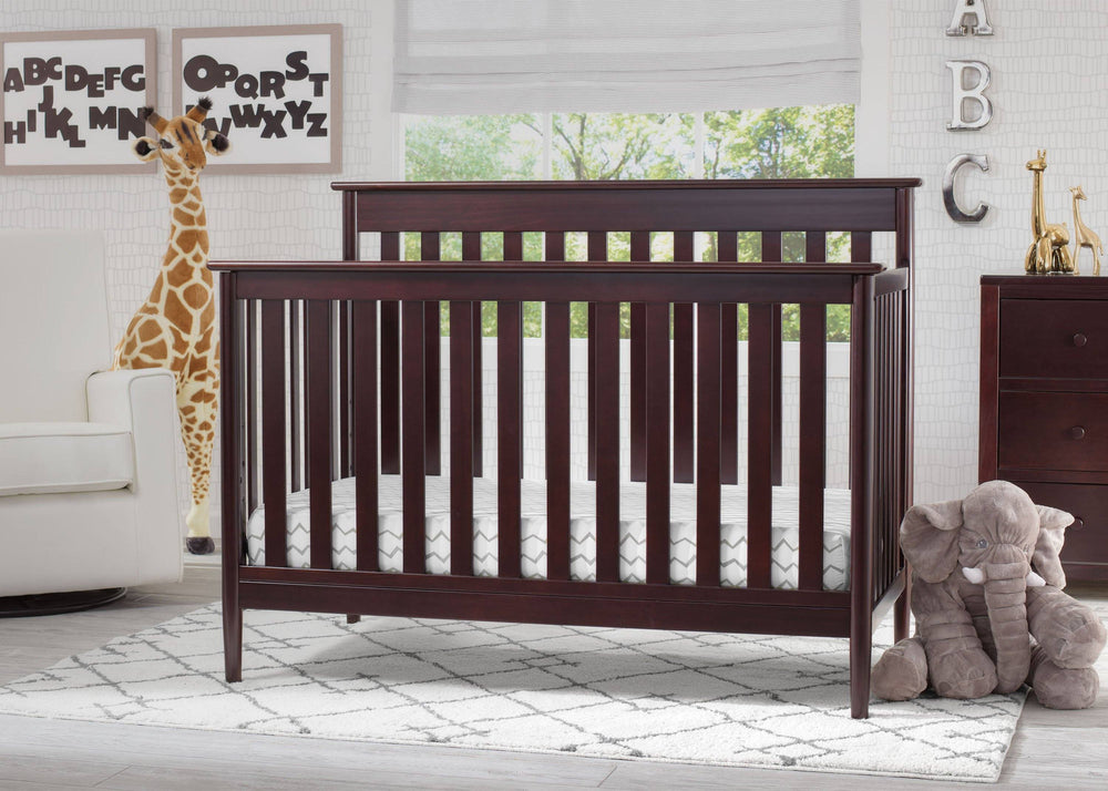 Delta Children Dark Chocolate (207) Greyson Signature 4-in-1 Crib, Room View c1c