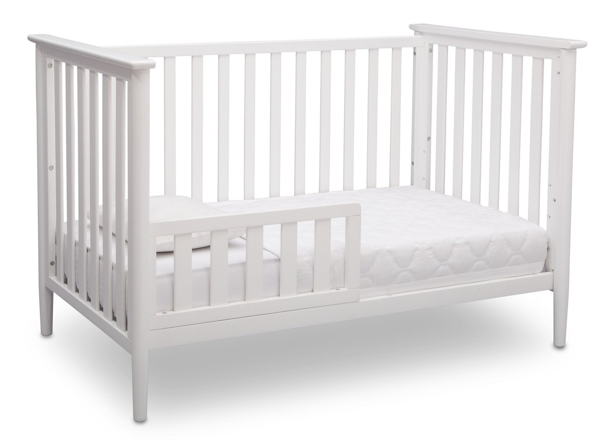 Delta Children Bianca White (130) Greyson 3-in-1 Crib, Angled Conversion to Toddler Bed, a3a