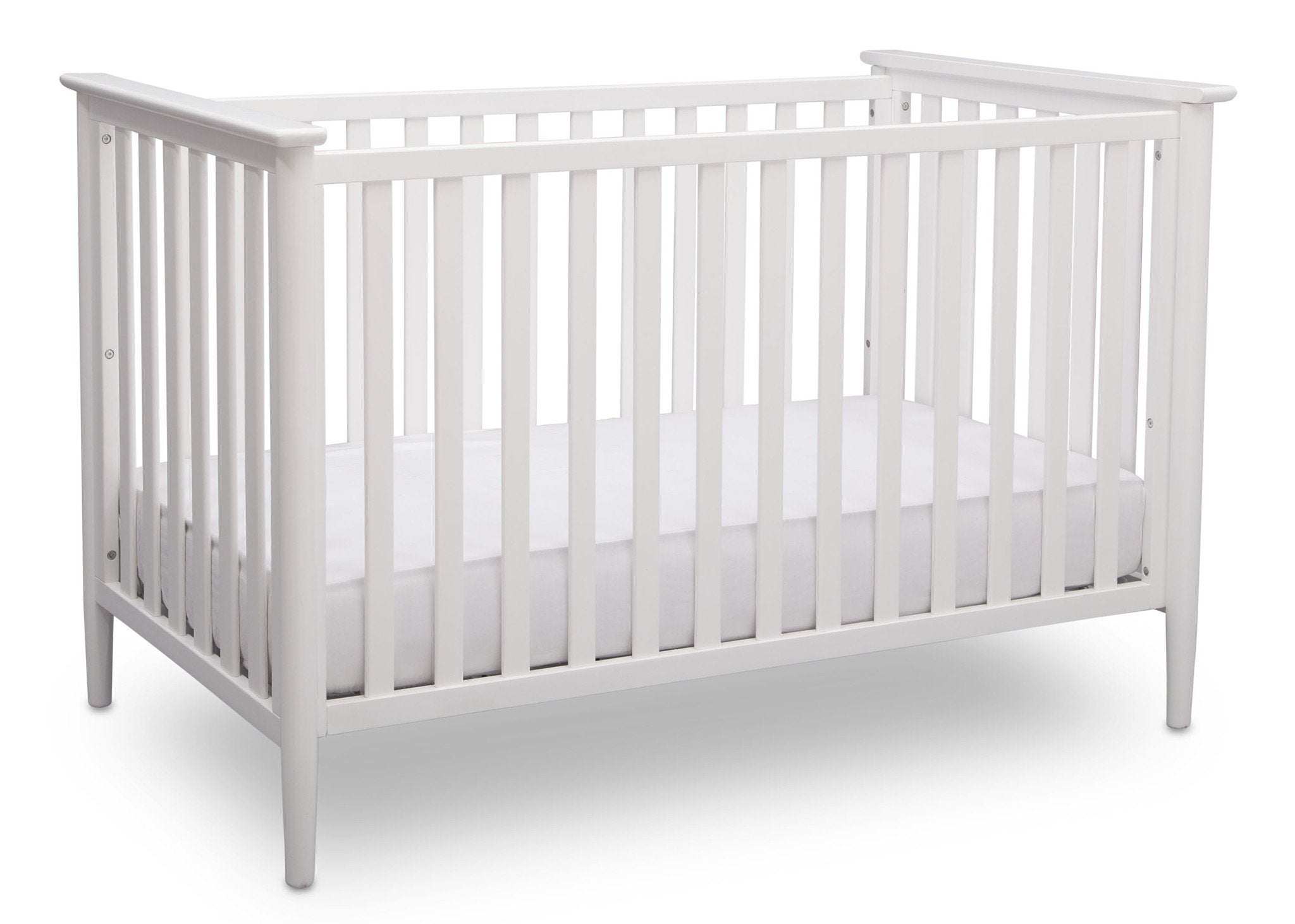 Delta Children Bianca White (130) Greyson 3-in-1 Crib, Angled View, a2a