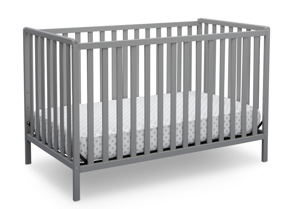 Delta Children Grey (026) Heartland 4-in-1 Convertible Crib, Angled Crib View a3a