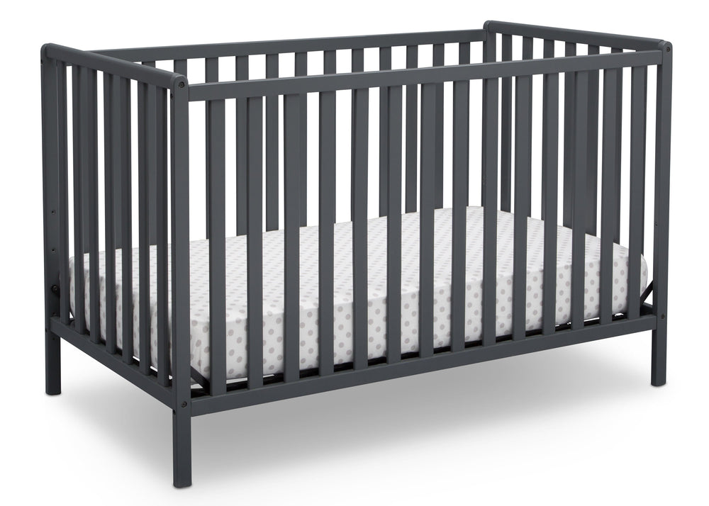 Delta Children Charcoal Grey (029) Heartland 4-in-1 Convertible Crib, Angle Crib View b3b