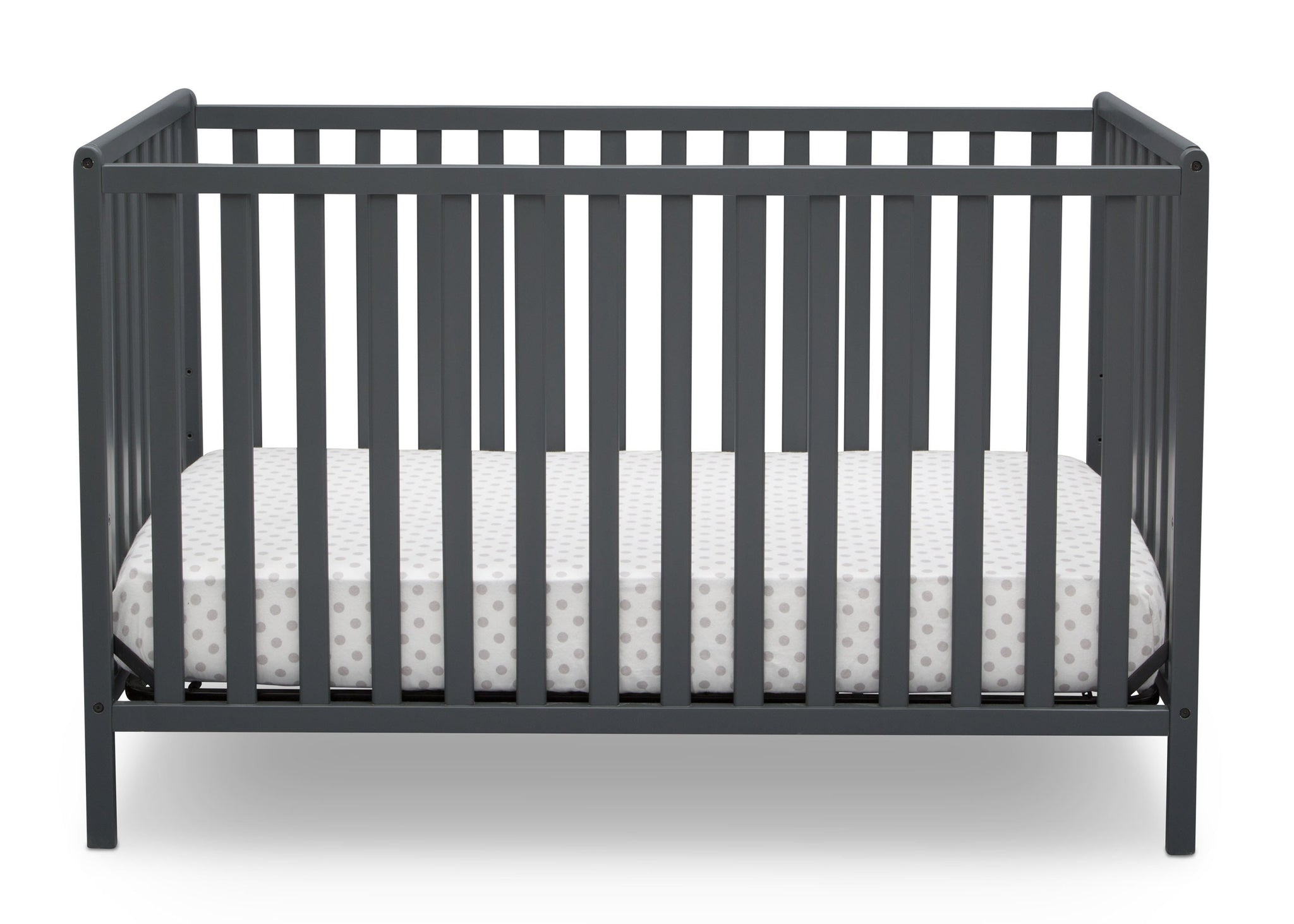 Delta Children Charcoal Grey (029) Heartland 4-in-1 Convertible Crib, Front View b2b