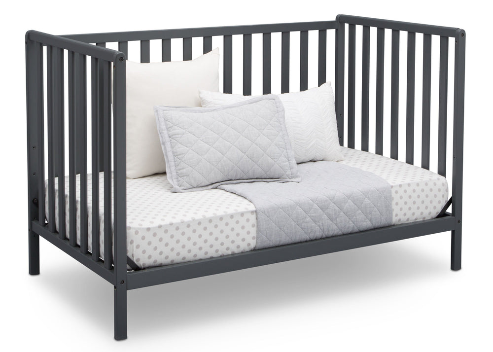 Delta Children Charcoal Grey (029) Heartland 4-in-1 Convertible Crib, Daybed View b5b
