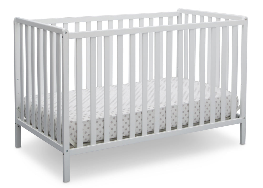 Delta Children Bianca White (130) Heartland 4-in-1 Convertible Crib, Angle Crib View c3c