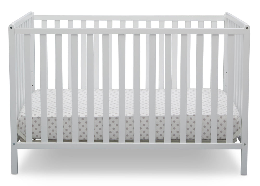 Delta Children Bianca White (130) Heartland 4-in-1 Convertible Crib, Front View c2c