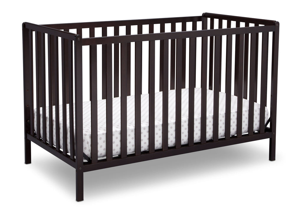 Delta Children Dark Chocolate (207) Heartland 4-in-1 Convertible Crib, Angle Crib View d3d