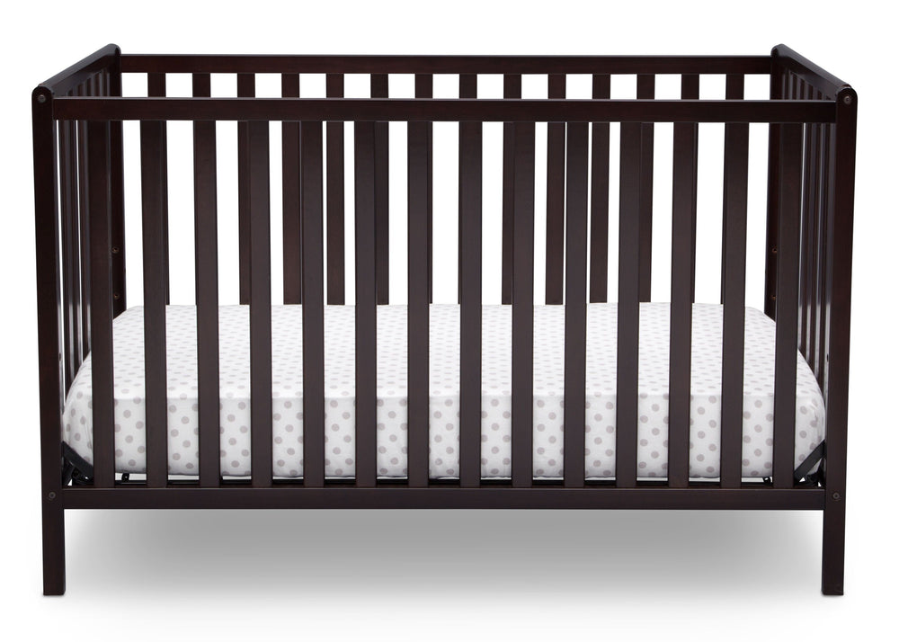 Delta Children Dark Chocolate (207) Heartland 4-in-1 Convertible Crib, Front View d2d