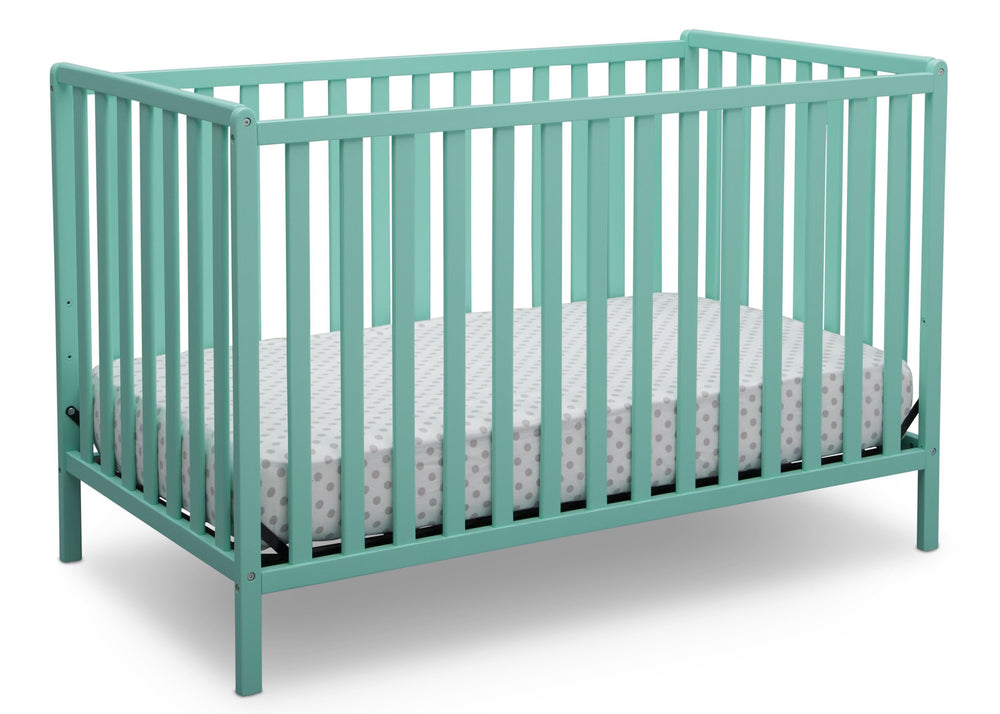 Delta Children Aqua (347) Heartland 4-in-1 Convertible Crib, Angle Crib View e3e
