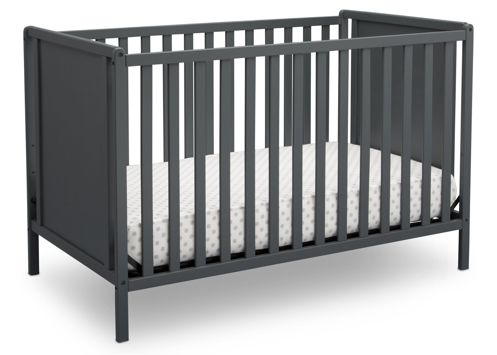Delta Children Charcoal Grey (029) Heartland Classic 4-in-1 Convertible Crib, Crib Angle, b3b