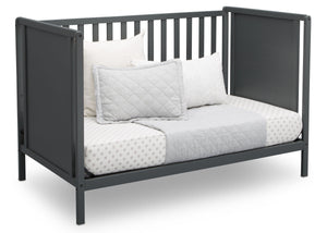 Delta Children Charcoal Grey (029) Heartland Classic 4-in-1 Convertible Crib, Day Bed Angle, b5b