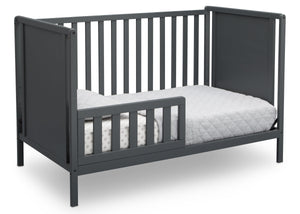 Delta Children Charcoal Grey (029) Heartland Classic 4-in-1 Convertible Crib, Toddler Bed Angle, b4b